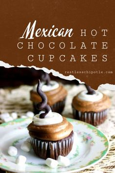 Warm cinnamon and deep chocolate flavors give these Mexican Hot Chocolate Cupcakes a unique, spicy chocolate flavor reminiscent of the Mexican hot chocolate we drink in Texas. Hot Chocolate Cupcakes, Hot Chocolate Fudge, Mexican Hot Chocolate, Chocolate Flavors, Chocolate Desserts, Cinnamon Cupcakes, Winter Desserts, Great Desserts, Delicious Desserts