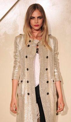 Cara Delevingne wearing metallic Burberry- fierce