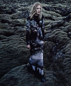 -Out of This World- This season's starkly powerful silhouettes hold their own against Iceland's extreme landscape of jagged lava fields,  mossy hills and shining white glaciers. Mary Katrantzou dress, $19,394; net-a-porter.com. Saint Laurent by Hedi Slimane boots, $2,395.