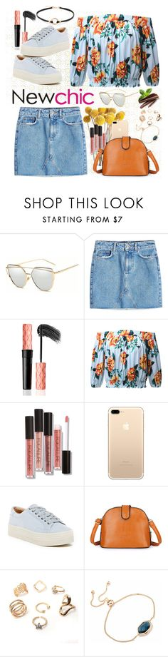 """""""NEWCHIC - Sexy Off-shoulder Floral Print 3/4 Sleeve Blouse For Women"""" by miss-maca ❤ liked on Polyvore featuring Anine Bing and Marc Fisher LTD"""