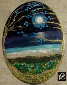 Magic Moon – Painted Stones von Rosaria Gagliardi – Rosaria Gagliardi – Join the world of pin Moon Painting, Pebble Painting, Pebble Art, Stone Crafts, Rock Crafts, Hand Painted Rocks, Painted Stones, Caillou Roche, Rock And Pebbles