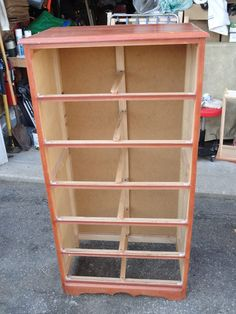 As found 6 drawer tall boy dresser with lots of veneer damage as well as broken guides and drawers, but savable
