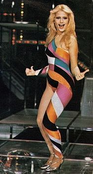 Heather Parisi in Fantastico (1979). She went to high school with my college friends and than became a huge star in Italy. I used to listen to her Italian pop music.