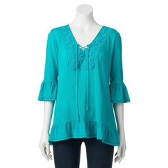 Women's French Laundry Lace-Up Ruffle Top, Size: Medium, Brt Blue