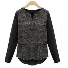 Chic Long Sleeve Color Block Splicing T-Shirt For Women