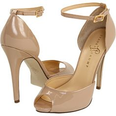 $125 for a great pair of patent leather, nude, peep-toe pumps WITH an ankle strap! How sexy and great for a vintage style wedding!