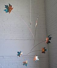 """7 Leaf Copper Maple Mobile with Green Patina by Jay Jones (Metal Sculpture) (28"""" x 20"""")"""