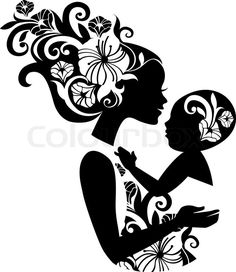 Beautiful mother silhouette with baby in a sling. Floral illustration | Vector | Colourbox on Colourbox