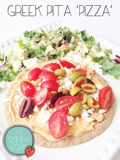 Greek Pita 'Pizza' — A de{light}ful little pizza that is sure to satisfy with under 300 calories. Plus, no baking! Perfect for a hot summer night.