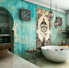 One of the most popular interior design for home is modern. The modern interior will make your home looks elegant and also amazing because of its natural material. If you want to design your home inte Moroccan Bathroom, Bohemian Bathroom, Moroccan Interiors, Moroccan Decor, Moroccan Style, Moroccan Design, Morrocan Lamps, Moroccan Room, Moroccan Furniture