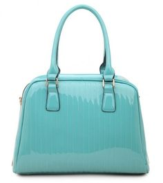 BLUE - Classic Cora Plain Patent Tote Handbag With Straight Lining Detail - The Handbag Hut