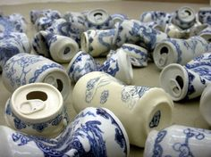 """goldenwallen: Xua Lei Porcelain crushed Cans ..."""