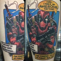 I'm totally in love with this #Deadpool #tattoo. Thinking of touching up mine to have some of that insane chatter of his.