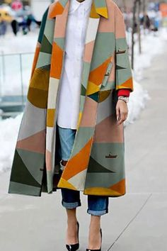 Style Fashion Tips Fashion Turndown Collar Printed Colour Long Sleeve Slit coat Wakasia.Style Fashion Tips Fashion Turndown Collar Printed Colour Long Sleeve Slit coat Wakasia Looks Street Style, Looks Style, Looks Cool, Look Fashion, Fashion Beauty, Autumn Fashion, Fashion Design, Fashion Coat, Modern Fashion