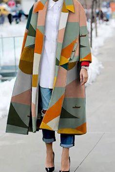 Style Fashion Tips Fashion Turndown Collar Printed Colour Long Sleeve Slit coat Wakasia.Style Fashion Tips Fashion Turndown Collar Printed Colour Long Sleeve Slit coat Wakasia Looks Street Style, Looks Style, Looks Cool, Mode Outfits, Fashion Outfits, Womens Fashion, Fashion Tips, Fashion Trends, Fashion Clothes