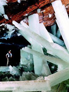 Crystal cave. naica, mexico. rocks