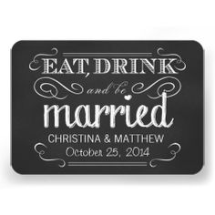 Eat Drink be Married Chalkboard Rounded RSVP Personalized Invites