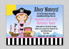 Pirate Party Invitation Pink Pirate Birthday Party Invitation Printable on Etsy, £9.53