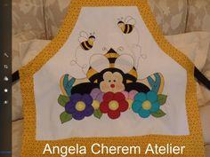 Avental abelha om flores