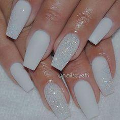 White Matte Nails with Diamond Glitter: