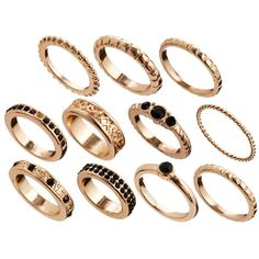 ASOS Eastern Delight Every Finger Ring Pack ($20) ❤ liked on Polyvore featuring jewelry, rings, accessories, anillos, asos jewelry, set rings, asos rings and asos