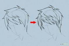 Draw Hair - How to Draw Anime Hair. This tutorial will show you how to draw male and female anime hair. Anime hair is what makes anime heroes unique and beautiful – as with real humans, it's the crowning beauty. Draw an outline of the h. Guy Drawing, Manga Drawing, Drawing People, Drawing Sketches, Drawing Tips, Anime Hair Drawing, Sketching, Gesture Drawing, Drawing Faces