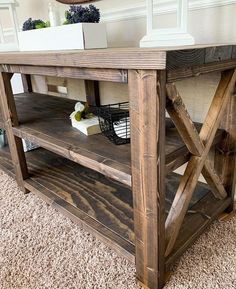 Farmhouse entertainment center - open shelving - rustic tv stand in Farmhouse Furniture, Rustic Furniture, Furniture Making, Furniture Decor, Refinished Furniture, Furniture Plans, Kitchen Furniture, Dining Room Buffet, Entryway Tables