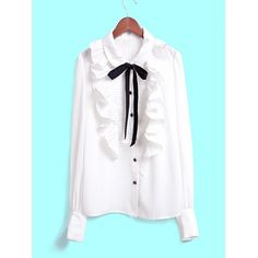 Women White Bow Lapel Ruffle Front Button Long Sleeves Chiffon Korean... ($19) ❤ liked on Polyvore