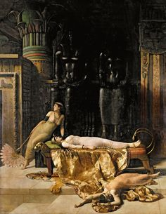 """"""" The Death of Cleopatra, 1910 John Collier (British, 1850-1934) Gallery Oldham, UK """""""
