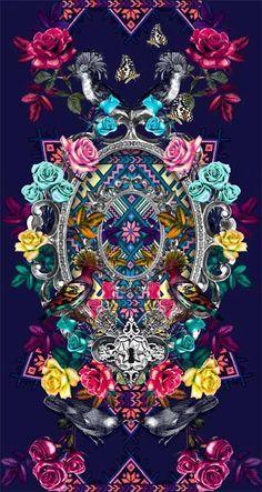 Just use your blacklight. Textile Prints, Textile Patterns, Textile Design, Textiles, Cute Wallpapers, Wallpaper Backgrounds, Iphone Wallpaper, Pattern Art, Pattern Design