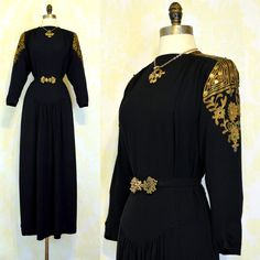 Vintage 40s Gold Bullion Trim Dress L ~ Black Rayon Crepe ~ Passementerie Soutache Braid ~ Egyptian Paillettes on Etsy, $375.00