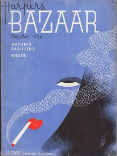 bazaar october 1936 erte love the illustration and Typography mix, and all by hand!!