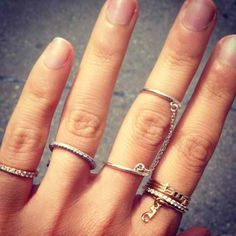 Dainty stacked rings.