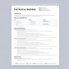 clean resume template pkg cover letter