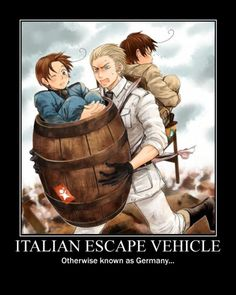 When Italy gets too tired to run (or if he gets stuck in a barrel), and a chair is somehow tied to the back of Germany, Doitsu becomes the ultimate escape vehicle!! XD