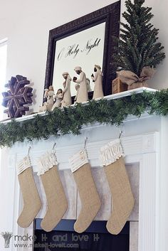 Burlap stockings!  My husband may kill me for wanting these... seeing that I dropped an insane amount of money for matching monogrammed ones from PB just last year... even ones for the dogs.  Oops.