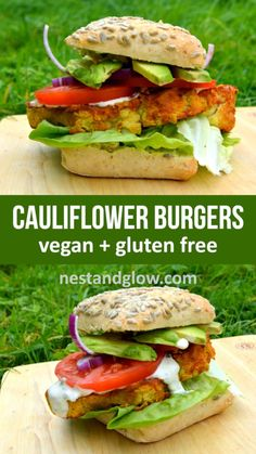 Chickpea Cauliflower Spicy Burger Cauliflower Burger with Spicy Chickpeas - gluten free and high protein vegan burger. Slices of cauliflower are breaded in chickpeas and baked with chilli to make a gluten free burger. With raw ranch dressing Whole Food Recipes, Diet Recipes, Vegetarian Recipes, Healthy Recipes, Vegan Recipes With Fish, High Protein Vegan Recipes, Going Vegetarian, Raw Recipes, Vegetarian Dinners