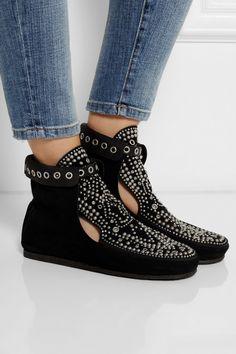 Isabel Marant|Morley studded suede moccasin boots|NET-A-PORTER.COM