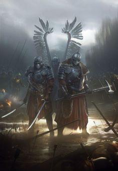 Winged Hussars by Piotr Krezelewski Fantasy Warrior, Medieval Fantasy, Dark Fantasy, Armor Concept, Concept Art, Armadura Medieval, Fantasy Kunst, Warhammer Fantasy, Fantasy Inspiration