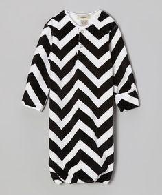 Black & White Zigzag Minky Gown