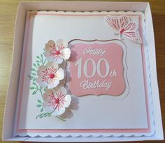 !00th birthday card flowers & butterfly in pink & white