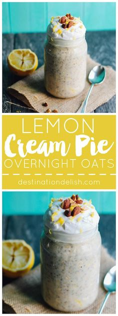 Lemon Cream Pie Overnight Oats Destination Delish – Oats, chia seeds, lemon zest, and maple syrup are soaked in almond milk for a healthy breakfast inspired by a lovely lemon dessert Breakfast Desayunos, Breakfast Recipes, Breakfast Smoothies, Mexican Breakfast, Breakfast Sandwiches, Breakfast Cookies, Lemon Cream Pies, Lemon Tarts, Overnight Oatmeal
