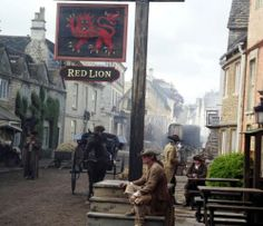 Scenes from the set for Truro in the new Poldark series starring Aidan Turner as Ross Poldark, 6 May 2014 in Corsham, via @dorina335 on Twitter