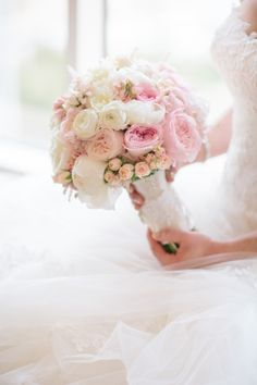 blush bouquet of garden and spray roses, peonies and ranunculus by Commerce Flowers