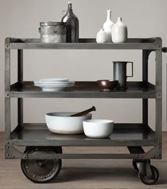 Industrial Steel Bar Cart from Restoration Hardware. Shop more products from Restoration Hardware on Wanelo. Metal Dining Table, Iron Table, Small Furniture, Bar Furniture, Wicker Furniture, Furniture Removal, Quality Furniture, Cheap Furniture, Industrial Interiors