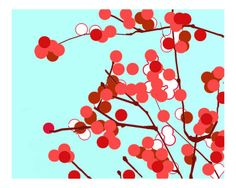 powder blue with red and pink blossoms -- would be lovely on canvas or larger scale on a wall.