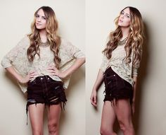 Brandy Melville Lace Wing Top, Brandy Melville Maroon Destroyed Shorts, Maroon & Gold Spike Necklace