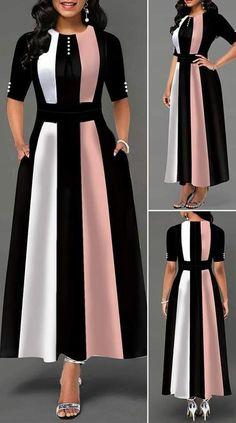 High Waist Color Block Button Detail Maxi Dress - New Site Dresses Elegant, Women's Dresses, Stylish Dresses, Cute Dresses, Beautiful Dresses, Dress Outfits, Casual Dresses, Floral Dresses, Tight Dresses