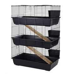 Little Friends Rabbit Cage Triple Story Has Three Hay Racks And Two Wooden Ramps For Bunnies Guinea Pigs To Move From One Floor Another