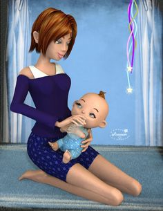Mininessie´s art gallery: Baby and Mom